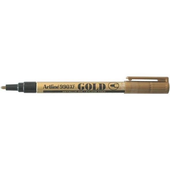 Artline 990 Metallic Permanent Marker 1.2mm Bullet Nib Gold BOX12 199031