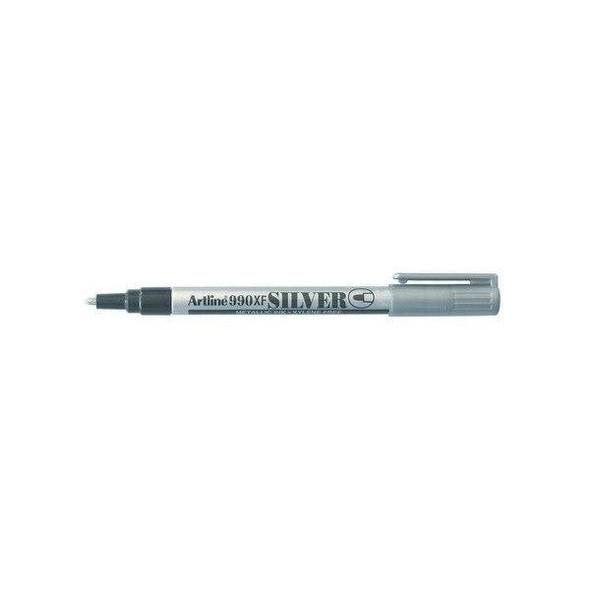 Artline 990 Metallic Permanent Marker 1.2mm Bullet Nib Silver Hangsell X CARTON of 12 199062