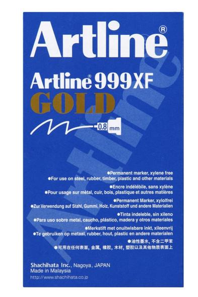 Artline 999 Metallic Permanent Marker 0.8mm Plastic Nib Gold BOX12 199931