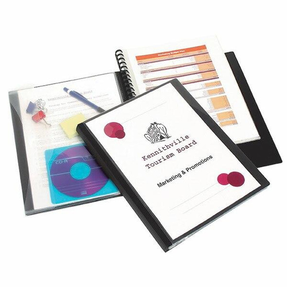Marbig Professional Refillable Display Book 20 Pocket Black With Wallet X CARTON of 12 2003202