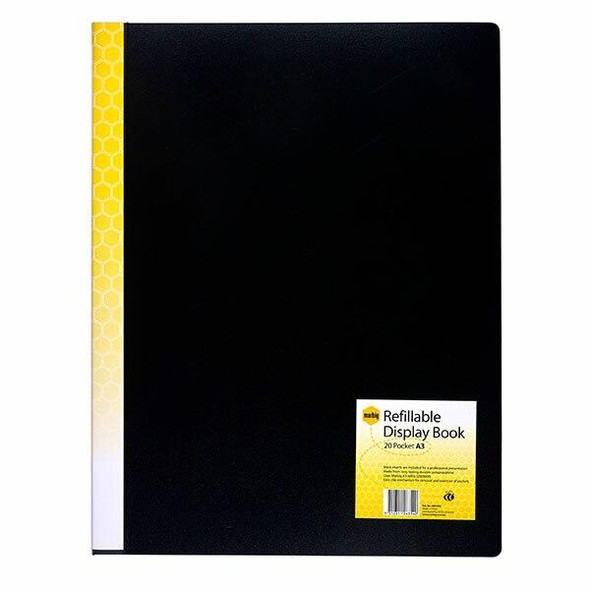 Marbig Refillable Display Book A3 20 Pockets Black X CARTON of 6 2003402
