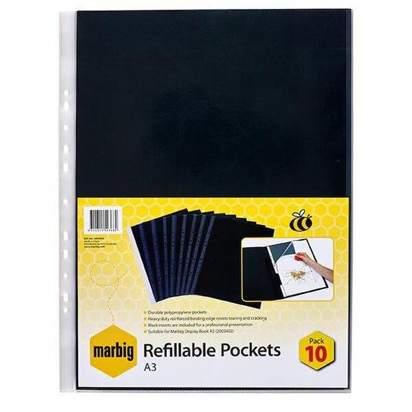 Marbig Display Book Refills A3 Pack Of 10 X CARTON 10 2003600