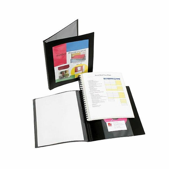 Marbig Professional Refillable Display Book 20 Pocket With Frame Black X CARTON of 12 2003702