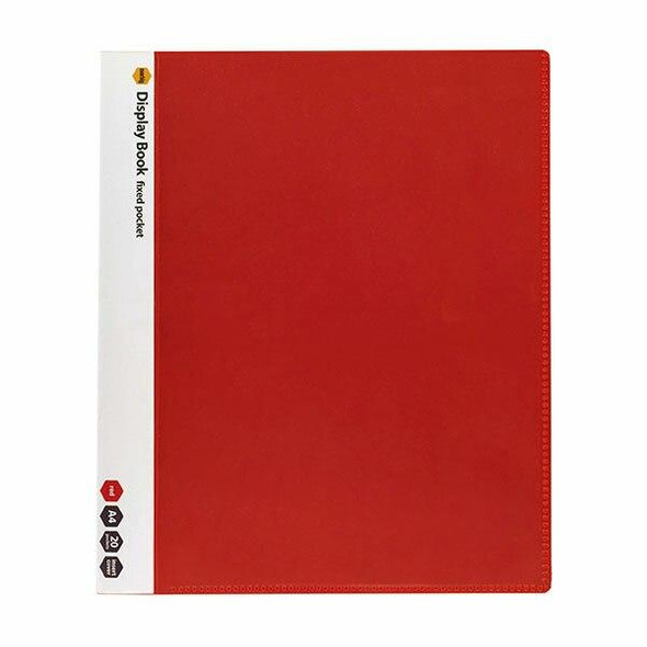 Marbig Non-Refillable Display Book 20 Pocket Insert Cover Red X CARTON of 10 2003703