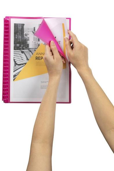 Marbig Refillable Display Book 20 Pocket Insert Cover Pink X CARTON of 12 2008509