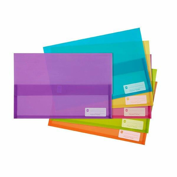 Marbig Polypick Foolscap Document Wallet Assorted Colours X CARTON of 12 2011099
