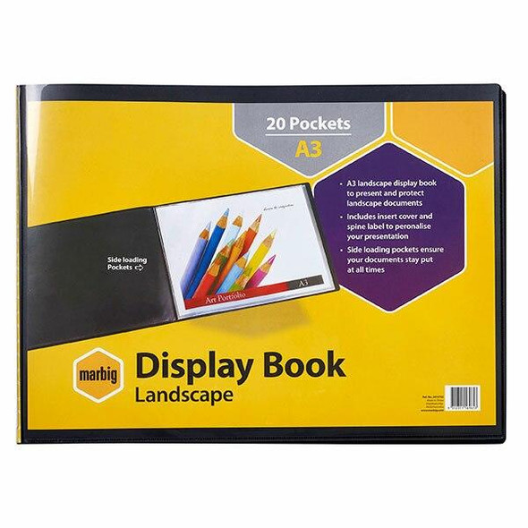 Marbig Non-Refillable Display Book A3 Pack20t Insert Cover L/Scp Blk X CARTON of 6 2018702