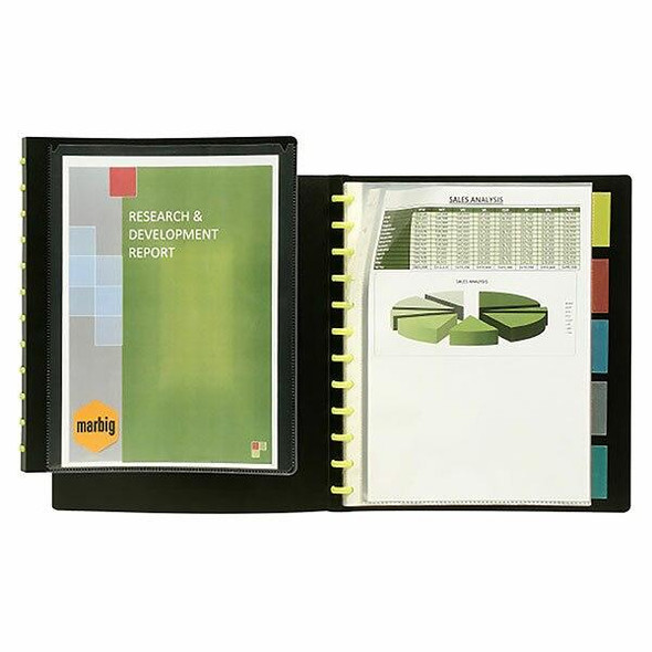 Marbig Kwik Zip Refillable Display Book A4 Insert Cover and 5 Dividers X CARTON of 12 2020102