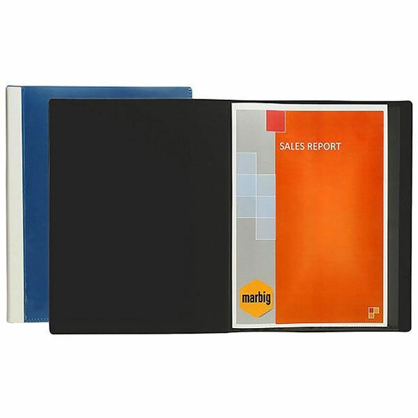 Marbig Clearview Non-Refillable Display Book 50 Pocket Blue X CARTON of 4 2057001