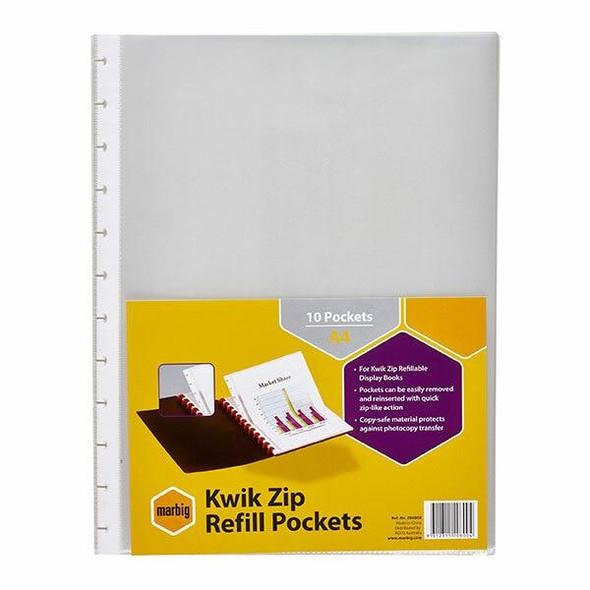 Marbig Kwik Zip Display Book Refills Pack of 10 X CARTON 10 206000