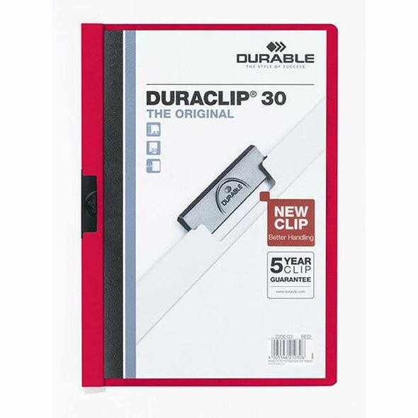 DURABLE Duraclip Document File A4 30 Sheet Red 220003