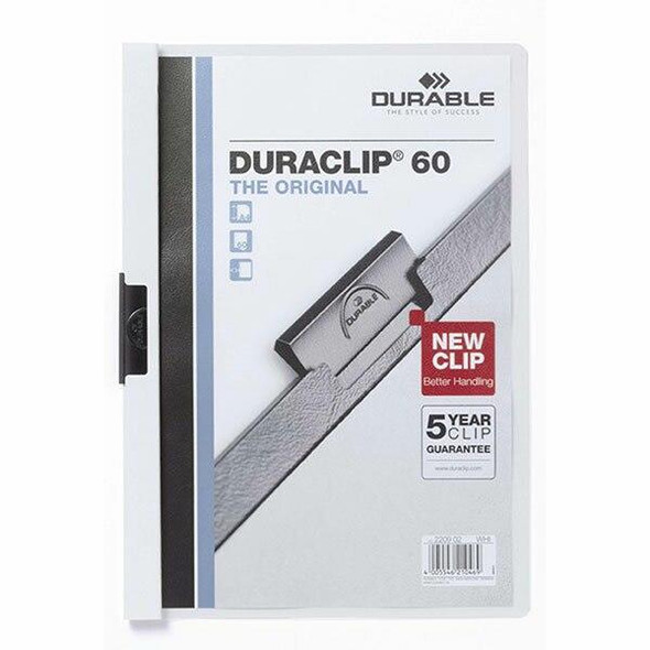 DURABLE Duraclip Document File A4 60 Sheet White 220902