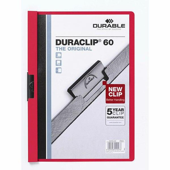 DURABLE Duraclip Document File A4 60 Sheet Red 220903