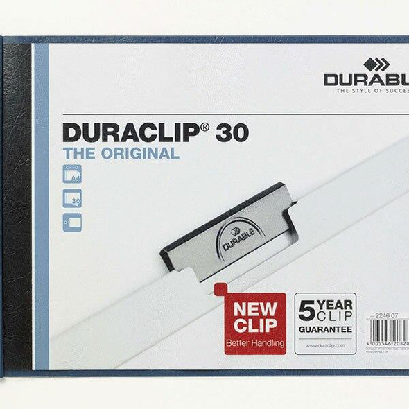DURABLE Duraclip Document File Landscape A4 30 Sheet Blue 224607