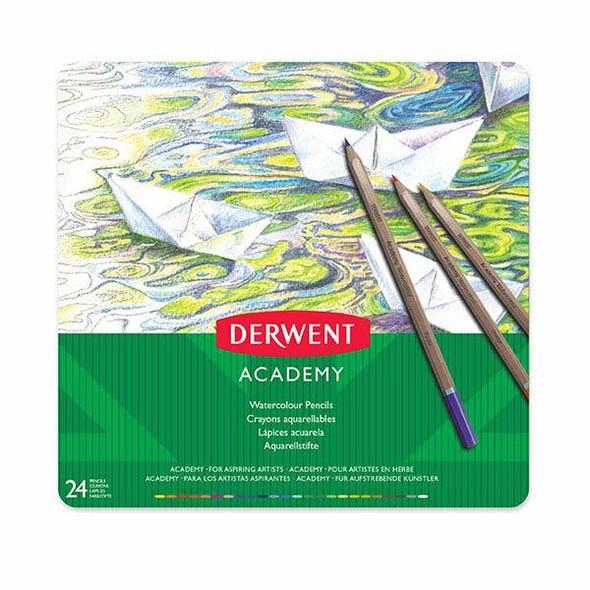 DERWENT Academy Watercolour Pencil Tin 24 X CARTON of 3 2301942