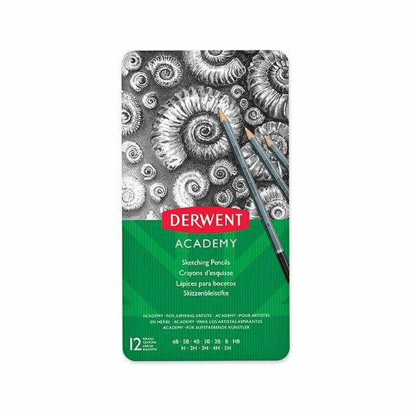 DERWENT Academy Sketching Pencil Tin 12 X CARTON of 6 2301946F