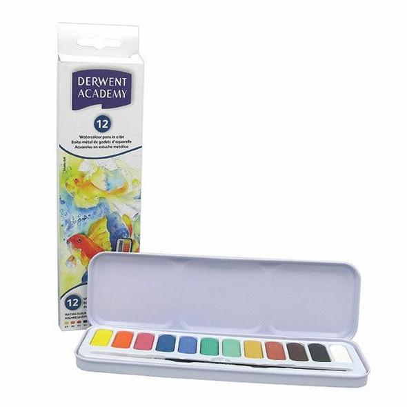 DERWENT Academy Watercolour Pan Set 12 X CARTON of 6 2301955