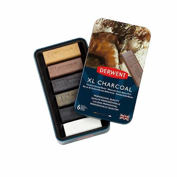 DERWENT Xl Charcoal Block Tin 6 X CARTON of 4 2302009
