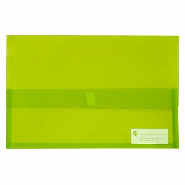 Marbig Polypick Foolscap Document Wallet Lime X CARTON of 12 2310004