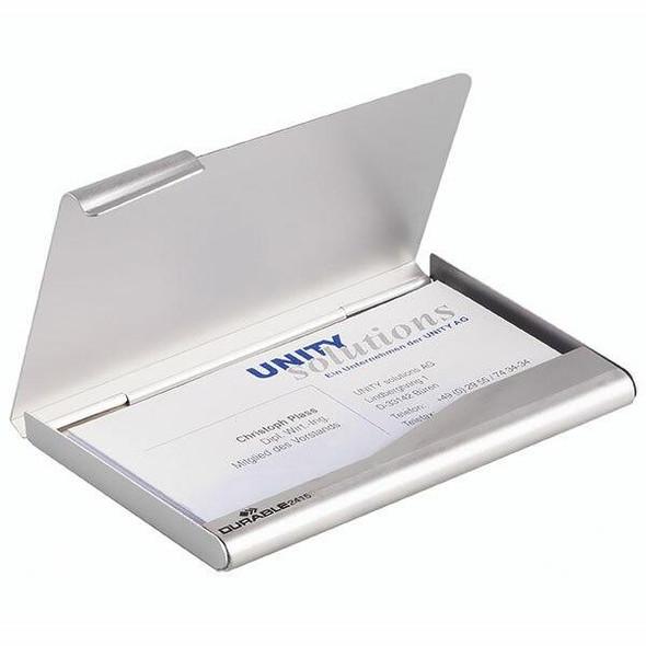 DURABLE Business Card Box Aluminium 20 Capacity 241523