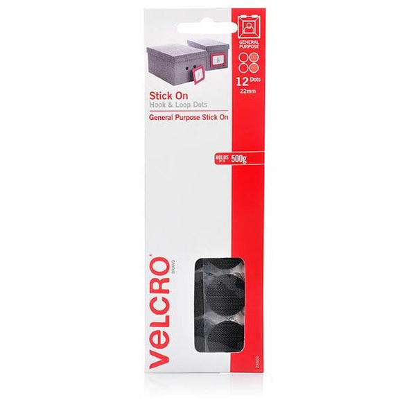 VELCRO Stick On Hook and Loop Dots 12 22mm Black X CARTON of 10 24502