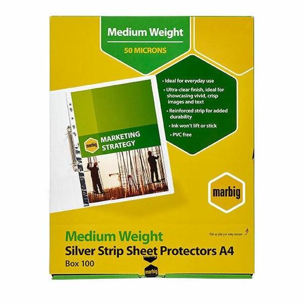 Marbig Sheet Protectors Medium Weight A4 Silver Strip 100Box 25101