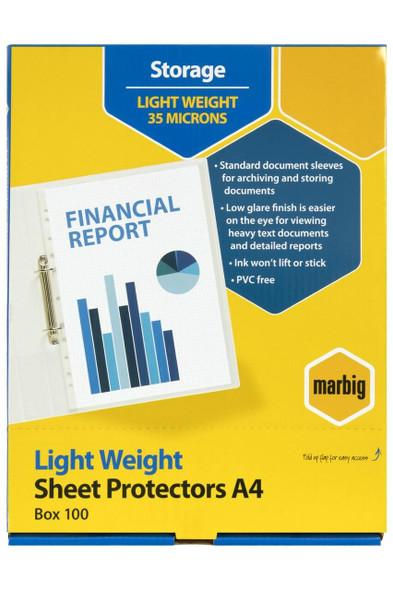 Marbig Sheet Protectors Lightweight A4 100Box X CARTON of 10 25150