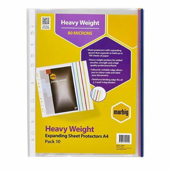 Marbig Sheet Protectors Heavyweight A4 Expanding Pack10 X CARTON of 10 25200