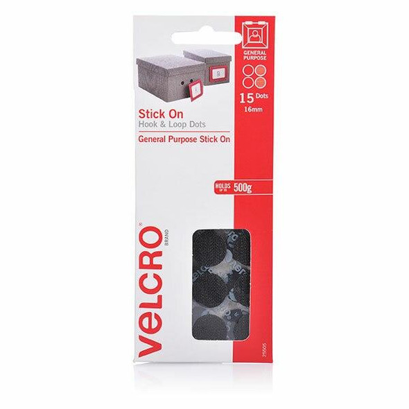 VELCRO Stick On Hook and Loop Dots 15 16mm Black X CARTON of 10 25505