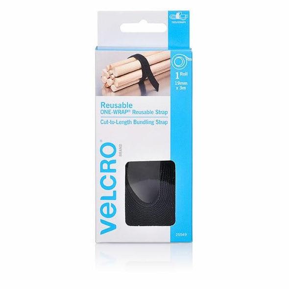 VELCRO One-WrapA'A Reusable Wrap 19mm X 3m Black CARTON of 6 25549