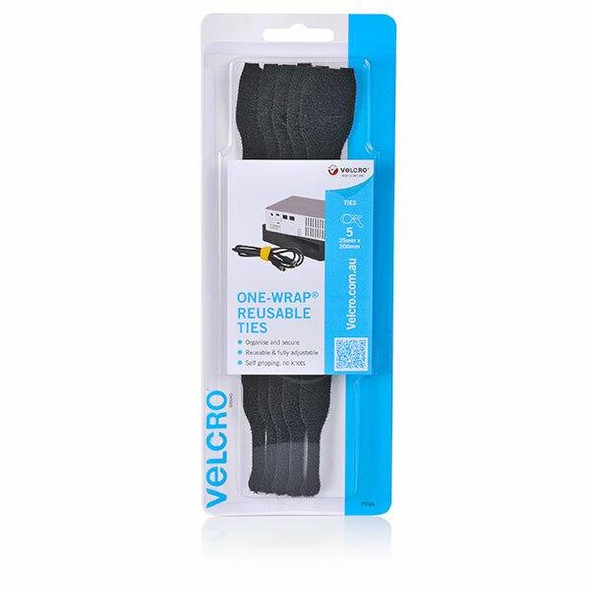 VELCRO One-WrapA'A 5 Pack Pre Formed Reusable Ties 25mm X 200m Black 25552