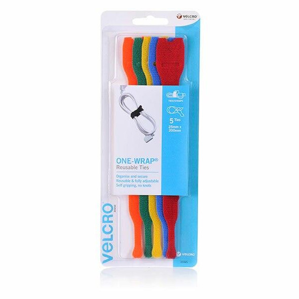 VELCRO One-WrapA'A 5 Pack Pre Formed Reusable Ties 25mm X 200mm Multi Colour 25553