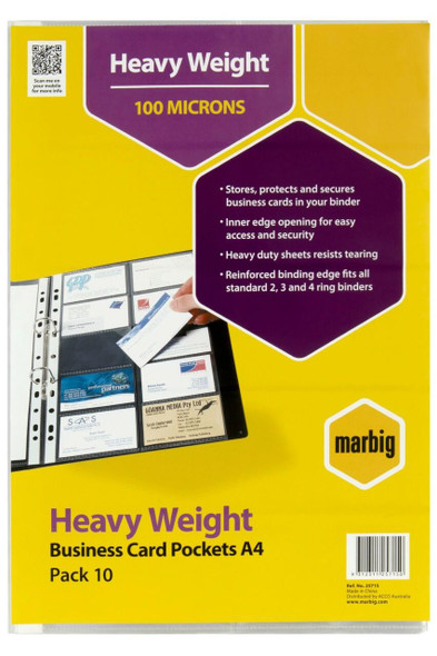 Marbig Heavyweight Business Card Pockets Pack10 X CARTON of 10 25715