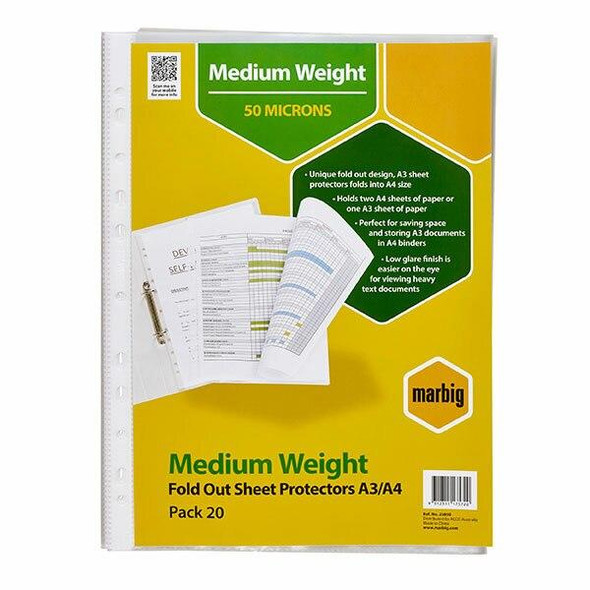 Marbig Sheet Protectors Medium Weight A3 Fold Out Pack20 X CARTON of 5 25850