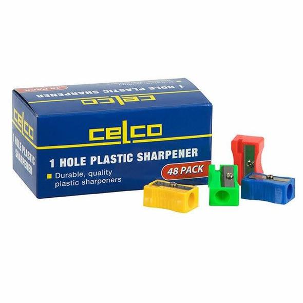 Celco Plastic Sharpener 48 Pack Single Hole 29998