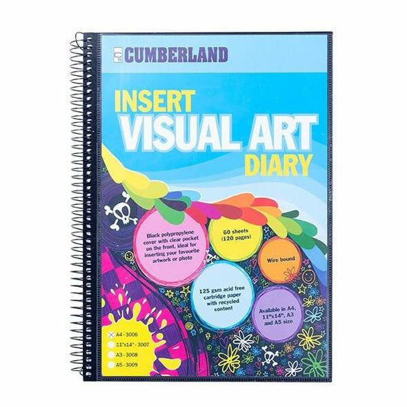 CUMBERLAND Visual Art Diary A4 Black 3006
