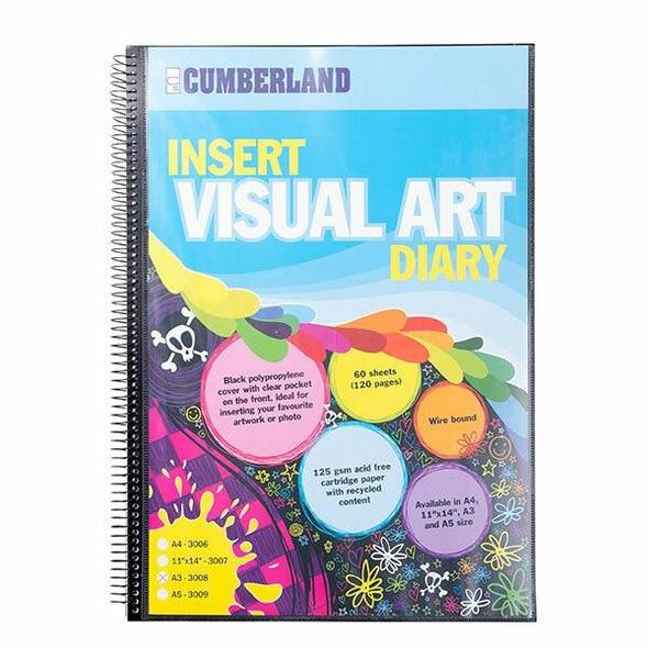 CUMBERLAND Visual Art Diary A3 Black 3008