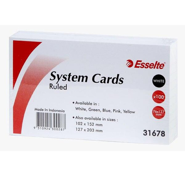 Esselte System Cards 127x76mm 5x3 White Pack100 31678