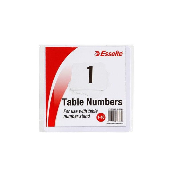 Esselte Table Numbers 1-10 White Pack10 31716