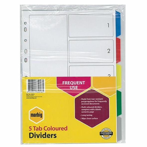 Marbig Indices and Dividers 5 Tab Pp A4 Multi Colour X CARTON of 50 35010
