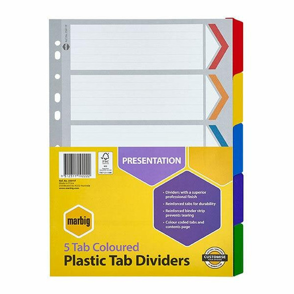 Marbig Indices and Dividers 5 Tab Reinforced A4 Colour X CARTON of 10 35011F