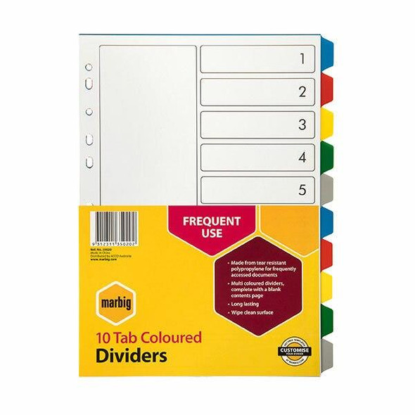 Marbig Indices and Dividers 10 Tab Pp A4 Multi Colour X CARTON of 25 35020