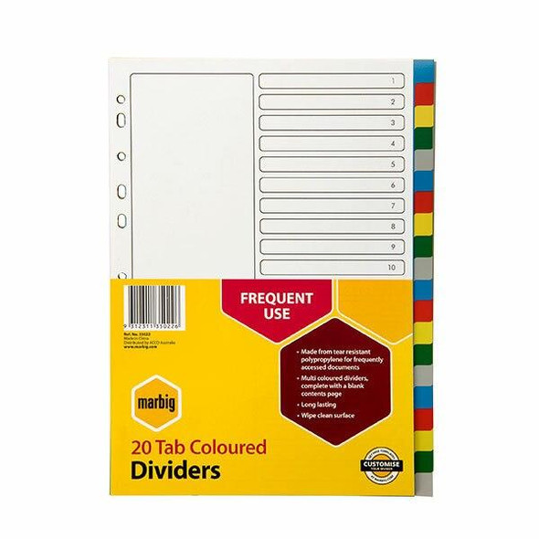 Marbig Indices and Dividers 20 Tab Pp A4 Multi Colour X CARTON of 10 35022