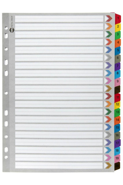Marbig Indices and Dividers 1-20 Tab Reinforced A4 Colour X CARTON of 10 35023F