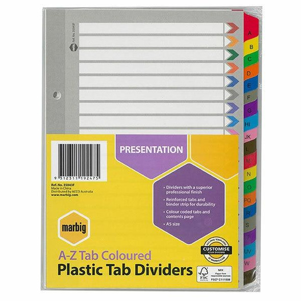 Marbig Indices and Dividers A-Z Tab Reinforced A5 Colour X CARTON of 10 35043F