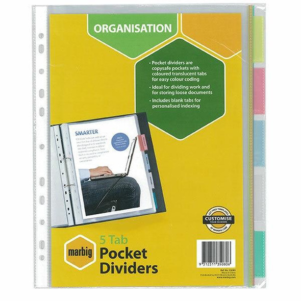 Marbig Indices and Dividers 5 Tab Pp A4 Clear Pockets X CARTON of 10 35080