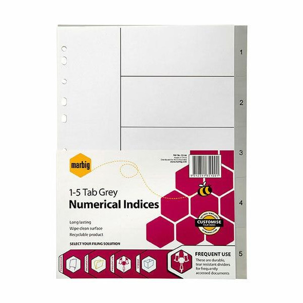 Marbig Indices and Dividers 1-5 Tab Pp A4 Grey X CARTON of 50 35100