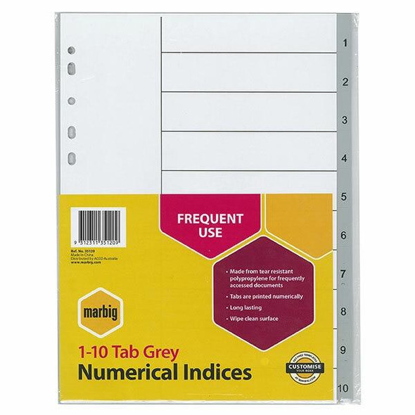 Marbig Indices and Dividers 1-10 Tab Pp A4 Grey X CARTON of 30 35120