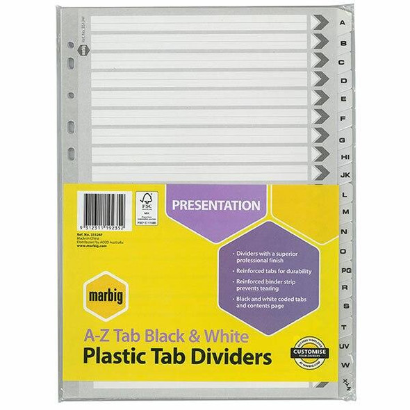 Marbig Indices and Dividers A-Z Tab Reinforced A4 Black X CARTON of 10 35124F