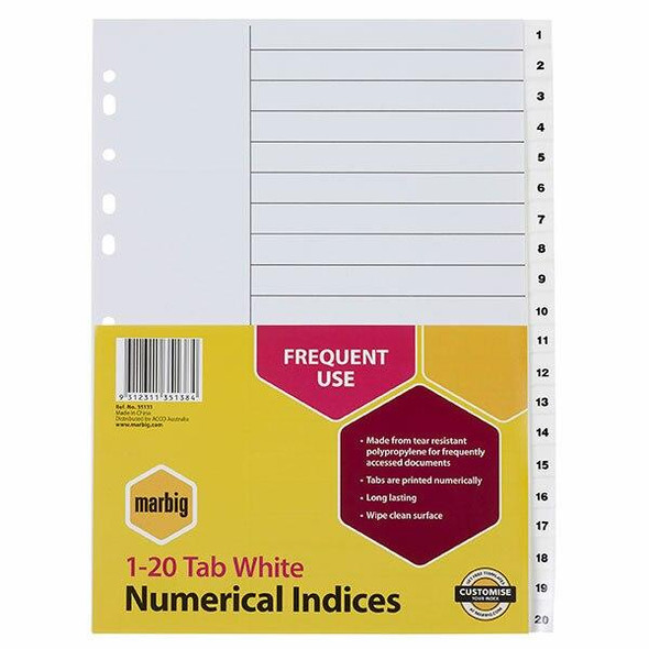 Marbig Indices and Dividers 1-20 Tab Pp A4 White X CARTON of 20 35131